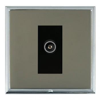 Hamilton Linea-Scala CFX Bright Chrome/Black Nickel 1 Gang TV (Female) with Black Insert