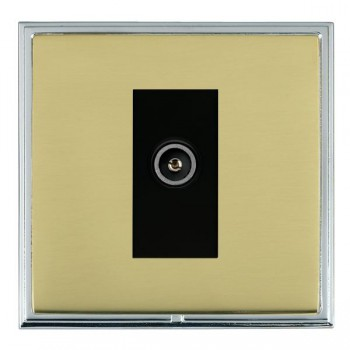 Hamilton Linea-Scala CFX Bright Chrome/Polished Brass 1 Gang TV (Female) with Black Insert