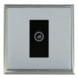 Hamilton Linea-Scala CFX Satin Nickel/Bright Steel 1 Gang TV (Female) with Black Insert