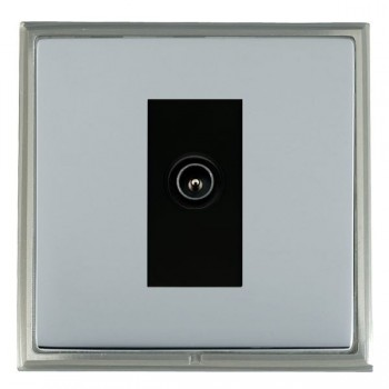 Hamilton Linea-Scala CFX Satin Nickel/Bright Steel 1 Gang TV (Male) with Black Insert