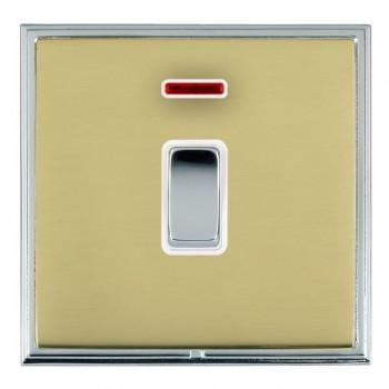 Hamilton Linea-Scala CFX Bright Chrome/Polished Brass 1 Gang Double Pole Rocker + Neon with White Insert