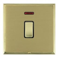 Hamilton Linea-Scala CFX Polished Brass/Satin Brass 1 Gang Double Pole Rocker + Neon with Black Insert