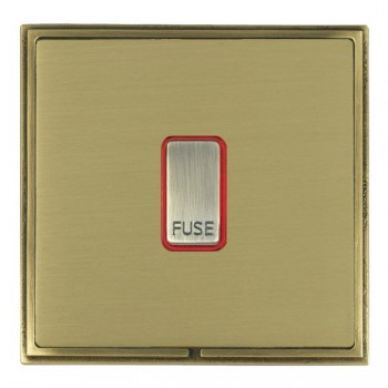 Hamilton Linea-Scala CFX Antique Brass/Satin Brass 1 Gang 13A Fuse + Red Neon Halo with Red Insert
