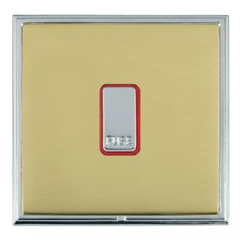 Hamilton Linea-Scala CFX Bright Chrome/Polished Brass 1 Gang 13A Fuse + Red Neon Halo with Red Insert