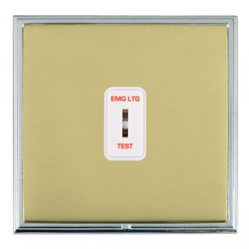 Hamilton Linea-Scala CFX Bright Chrome/Polished Brass 1 Gang 2 Way Key Switch 'EMG LTG TEST' with White Insert