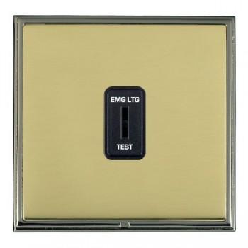 Hamilton Linea-Scala CFX Black Nickel/Polished Brass 1 Gang 2 Way Key Switch 'EMG LTG TEST' with Black Insert