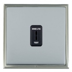 Hamilton Linea-Scala CFX Satin Nickel/Bright Steel 1 Gang 2 Way Key Switch 'EMG LTG TEST' with Black Insert
