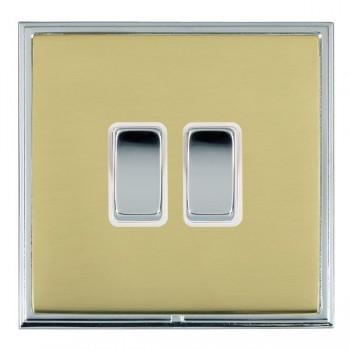 Hamilton Linea-Scala CFX Bright Chrome/Polished Brass 2 Gang 10amp 2 Way Rocker with White Insert