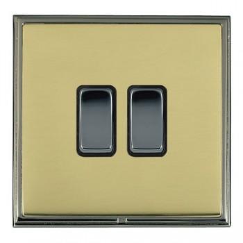 Hamilton Linea-Scala CFX Black Nickel/Polished Brass 2 Gang 10amp 2 Way Rocker with Black Insert