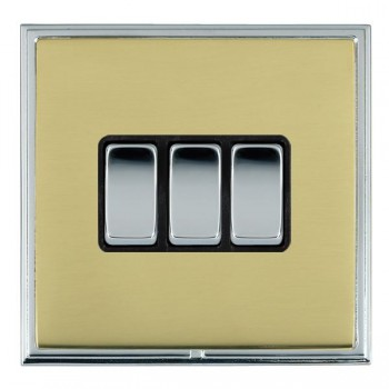 Hamilton Linea-Scala CFX Bright Chrome/Polished Brass 3 Gang 10amp 2 Way Rocker with Black Insert
