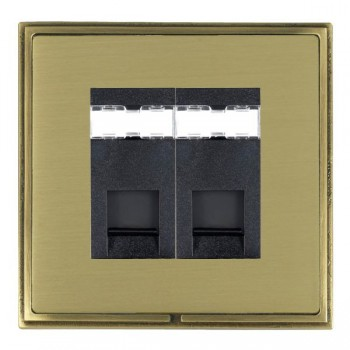 Hamilton Linea-Scala CFX Antique Brass/Satin Brass 2 Gang RJ12 Outlet Unshielded with Black Insert
