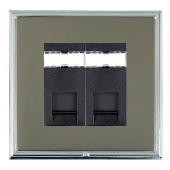 Hamilton Linea-Scala CFX Bright Chrome/Black Nickel 2 Gang RJ12 Outlet Unshielded with Black Insert