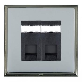 Hamilton Linea-Scala CFX Black Nickel/Bright Steel 2 Gang RJ12 Outlet Unshielded with Black Insert