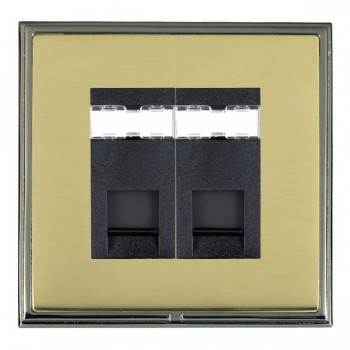 Hamilton Linea-Scala CFX Black Nickel/Polished Brass 2 Gang RJ12 Outlet Unshielded with Black Insert