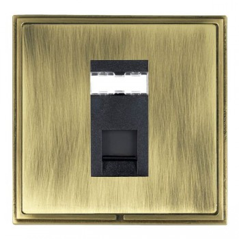 Hamilton Linea-Scala CFX Antique Brass/Antique Brass 1 Gang RJ12 Outlet Unshielded with Black Insert