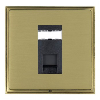 Hamilton Linea-Scala CFX Antique Brass/Satin Brass 1 Gang RJ12 Outlet Unshielded with Black Insert