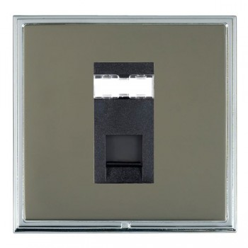 Hamilton Linea-Scala CFX Bright Chrome/Black Nickel 1 Gang RJ12 Outlet Unshielded with Black Insert