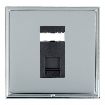Hamilton Linea-Scala CFX Bright Chrome/Bright Steel 1 Gang RJ12 Outlet Unshielded with Black Insert
