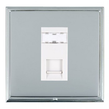 Hamilton Linea-Scala CFX Bright Chrome/Bright Steel 1 Gang RJ12 Outlet Unshielded with White Insert