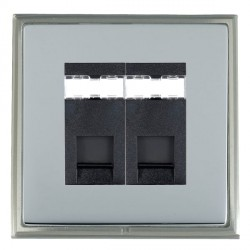Hamilton Linea-Scala CFX Satin Nickel/Bright Steel 2 Gang RJ45 Outlet Cat 5e Unshielded with Black Insert