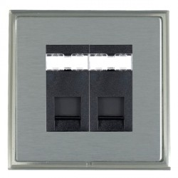 Hamilton Linea-Scala CFX Satin Nickel/Satin Steel 2 Gang RJ45 Outlet Cat 5e Unshielded with Black Insert