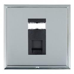 Hamilton Linea-Scala CFX Bright Chrome/Bright Steel 1 Gang RJ45 Outlet Cat 5e Unshielded with Black Insert