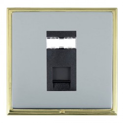 Hamilton Linea-Scala CFX Polished Brass/Bright Steel 1 Gang RJ45 Outlet Cat 5e Unshielded with Black Insert