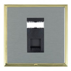 Hamilton Linea-Scala CFX Polished Brass/Satin Steel 1 Gang RJ45 Outlet Cat 5e Unshielded with Black Insert