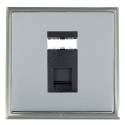 Hamilton Linea-Scala CFX Satin Nickel/Bright Steel 1 Gang RJ45 Outlet Cat 5e Unshielded with Black Insert