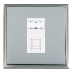 Hamilton Linea-Scala CFX Satin Nickel/Bright Steel 1 Gang RJ45 Outlet Cat 5e Unshielded with White Insert