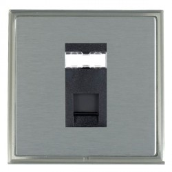 Hamilton Linea-Scala CFX Satin Nickel/Satin Steel 1 Gang RJ45 Outlet Cat 5e Unshielded with Black Insert