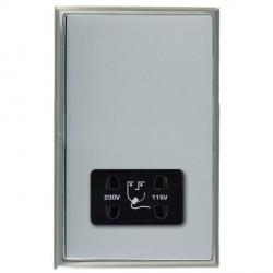 Hamilton Linea-Scala CFX Satin Nickel/Bright Steel Shaver Socket Dual Voltage with Black Insert