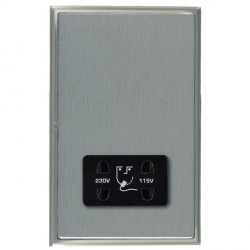 Hamilton Linea-Scala CFX Satin Nickel/Satin Steel Shaver Socket Dual Voltage with Black Insert