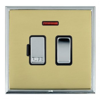 Hamilton Linea-Scala CFX Bright Chrome/Polished Brass 1 Gang 13A Fused Spur, Double Pole + Neon with Black Insert