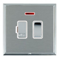 Hamilton Linea-Scala CFX Bright Chrome/Satin Steel 1 Gang 13A Fused Spur, Double Pole + Neon with White Insert