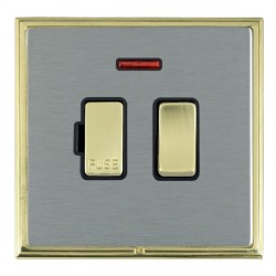 Hamilton Linea-Scala CFX Polished Brass/Satin Steel 1 Gang 13A Fused Spur, Double Pole + Neon with Black Insert