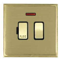 Hamilton Linea-Scala CFX Satin Brass/Satin Brass 1 Gang 13A Fused Spur, Double Pole + Neon with Black Insert