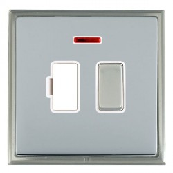 Hamilton Linea-Scala CFX Satin Nickel/Bright Steel 1 Gang 13A Fused Spur, Double Pole + Neon with White Insert