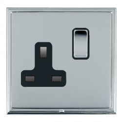 Hamilton Linea-Scala CFX Bright Chrome/Bright Chrome 1 Gang 13A Switched Socket - Double Pole with Black Insert
