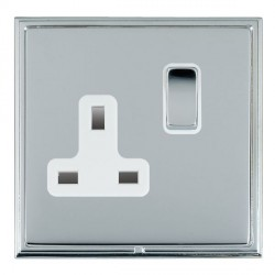Hamilton Linea-Scala CFX Bright Chrome/Bright Chrome 1 Gang 13A Switched Socket - Double Pole with White Insert
