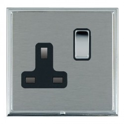Hamilton Linea-Scala CFX Bright Chrome/Satin Steel 1 Gang 13A Switched Socket - Double Pole with Black Insert