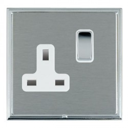 Hamilton Linea-Scala CFX Bright Chrome/Satin Steel 1 Gang 13A Switched Socket - Double Pole with White Insert