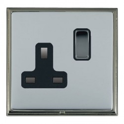 Hamilton Linea-Scala CFX Black Nickel/Bright Steel 1 Gang 13A Switched Socket - Double Pole with Black Insert