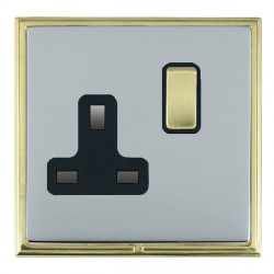 Hamilton Linea-Scala CFX Polished Brass/Bright Steel 1 Gang 13A Switched Socket - Double Pole with Black Insert