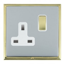 Hamilton Linea-Scala CFX Polished Brass/Bright Steel 1 Gang 13A Switched Socket - Double Pole with White Insert