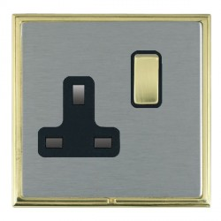 Hamilton Linea-Scala CFX Polished Brass/Satin Steel 1 Gang 13A Switched Socket - Double Pole with Black Insert