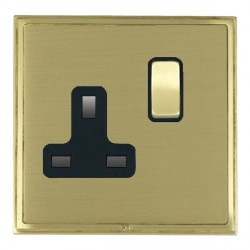 Hamilton Linea-Scala CFX Satin Brass/Satin Brass 1 Gang 13A Switched Socket - Double Pole with Black Insert