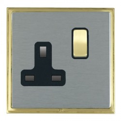 Hamilton Linea-Scala CFX Satin Brass/Satin Steel 1 Gang 13A Switched Socket - Double Pole with Black Insert
