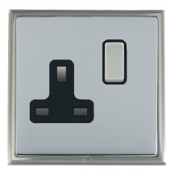 Hamilton Linea-Scala CFX Satin Nickel/Bright Steel 1 Gang 13A Switched Socket - Double Pole with Black Insert