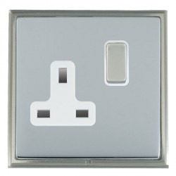 Hamilton Linea-Scala CFX Satin Nickel/Bright Steel 1 Gang 13A Switched Socket - Double Pole with White Insert
